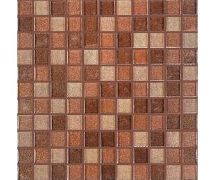 Стеклянная мозаика GM 8007 C3 Brown Dark/Brown Gold/Brown Brocade 300*300*8 мм (25*25)